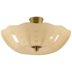 Swedish Midcentury Flush Mount in Glass and Brass, 1940s