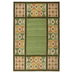 Swedish Midcentury Green and Yellow Flat-Weave Rug