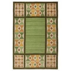 Swedish Midcentury Green and Yellow Flat-Weave Rug