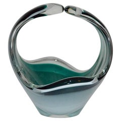 Swedish Mid-Century Modern Green Art Glass Centerpiece By Flygsfors