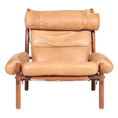 Swedish Midcentury Lounge Chair in Patinated Leather by Arne Norell