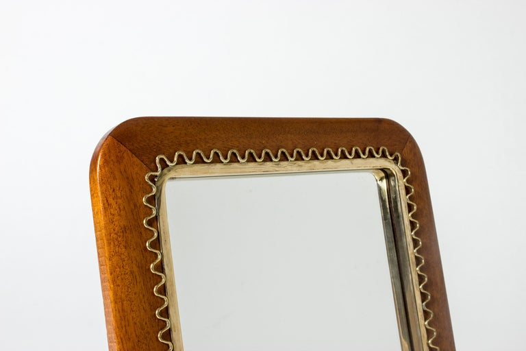 Swedish Midcentury Mahogany Table Mirror In Good Condition In Stockholm, SE