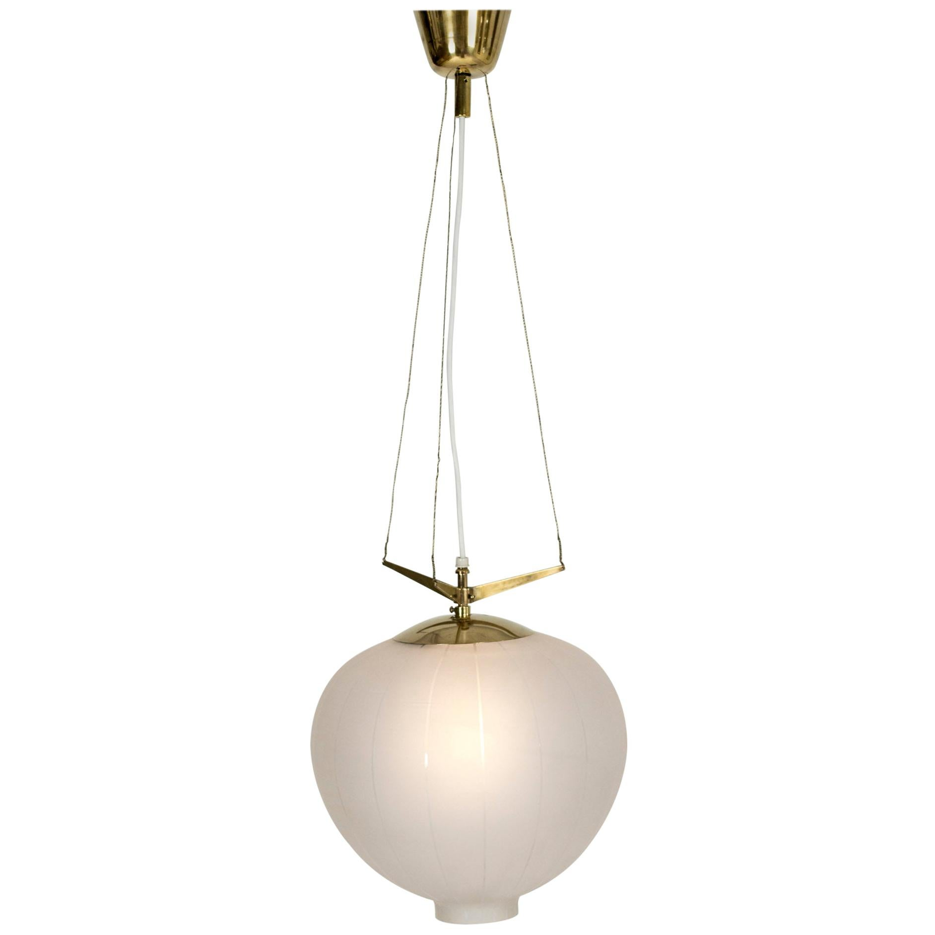 Swedish Midcentury Opaline Glass Ceiling Lamp