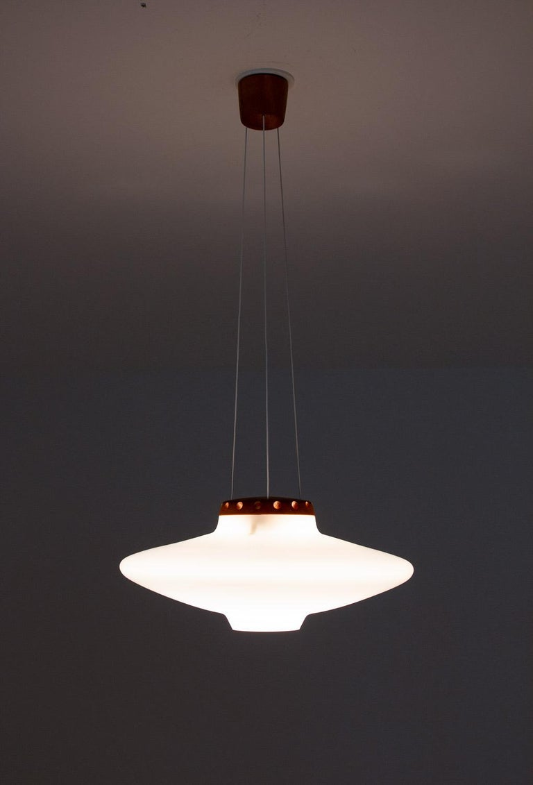 20th Century Swedish Midcentury Pendant in Oak and Opaline Glass by Luxus For Sale