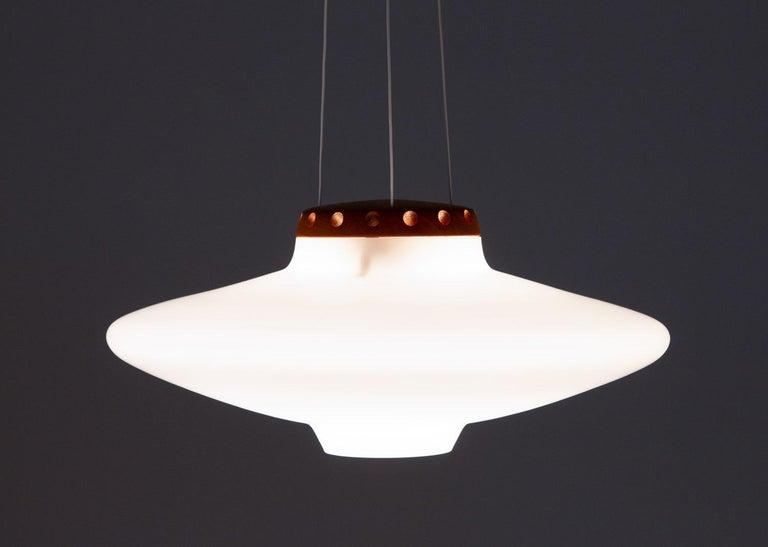 Teak Swedish Midcentury Pendant in Oak and Opaline Glass by Luxus For Sale