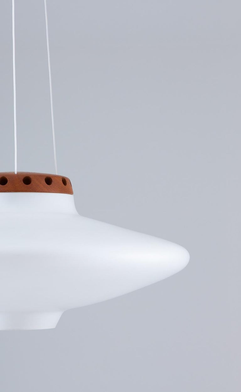 Swedish Midcentury Pendant in Oak and Opaline Glass by Luxus For Sale 3