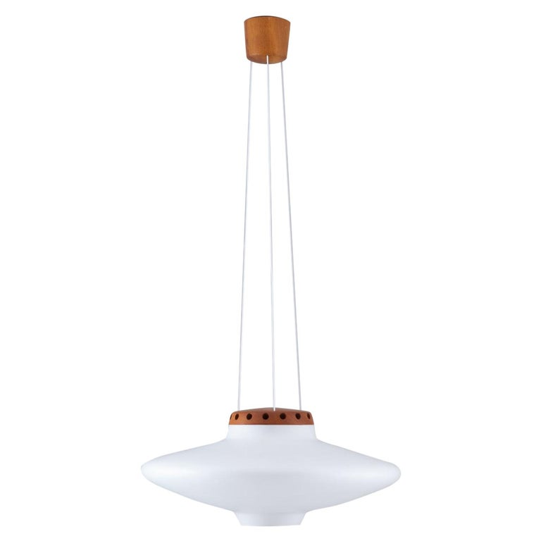 Swedish Midcentury Pendant in Oak and Opaline Glass by Luxus For Sale
