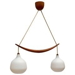 Swedish Midcentury Pendant in Oak and Opaline Glass