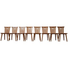 Swedish Midcentury Pine Dining Chairs '8'