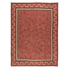 Swedish Midcentury Red, Burgundy and Carmine Flat-woven Wool Rug