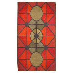 Swedish Midcentury Red and Gray Flat-Woven Rug, Sverige Riolakan by Polly Bjorkm