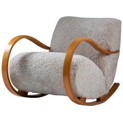 Swedish Midcentury Sheepskin Rocking Chair attributed to Gemla