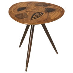 Swedish Midcentury Side Table with Inlays