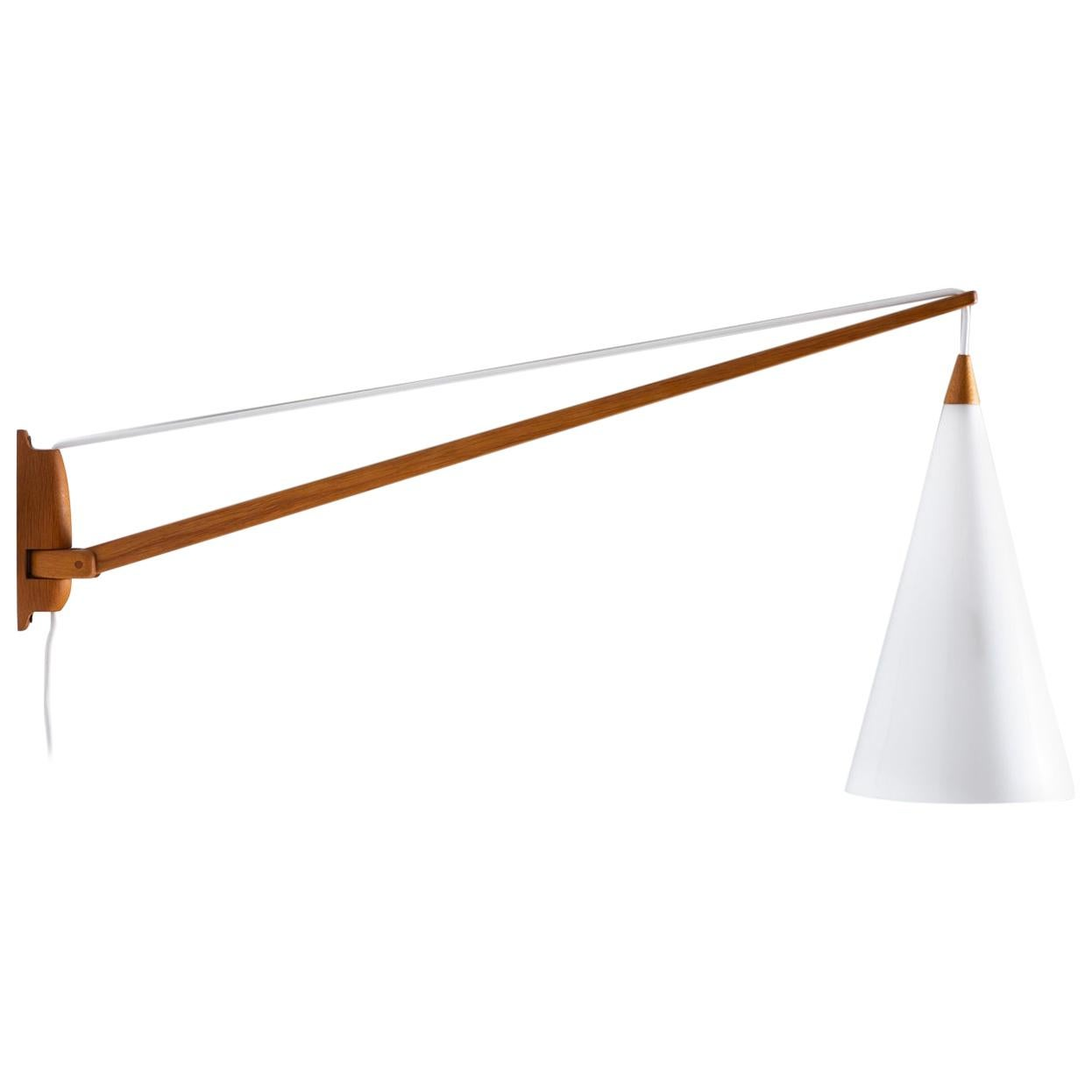 Swedish Midcentury Swiveling Wall Lamp in Acrylic and Teak by Luxus