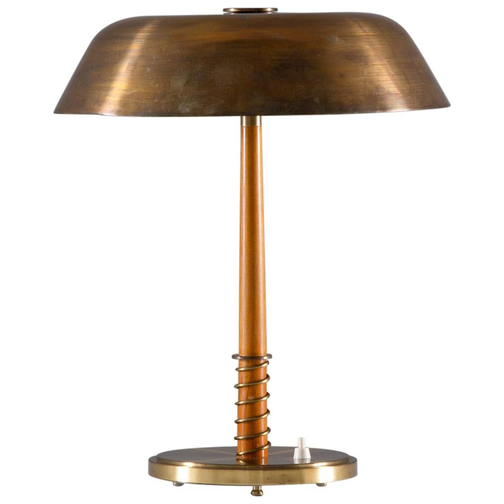 Swedish Midcentury Table Lamp in Brass by Harald Notini for Böhlmarks