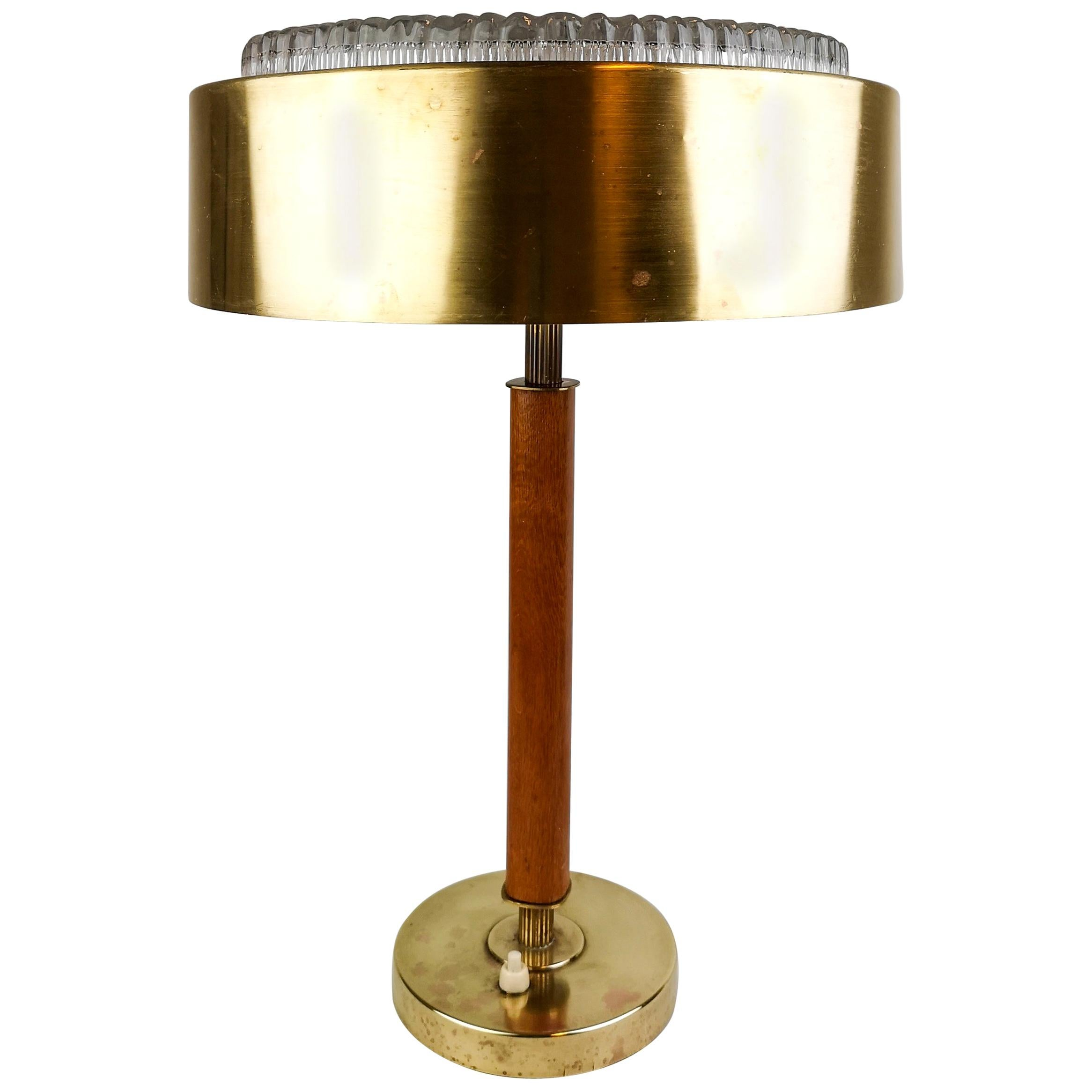Swedish Midcentury Table Lamp in Brass, Crystal and Wood by Boréns