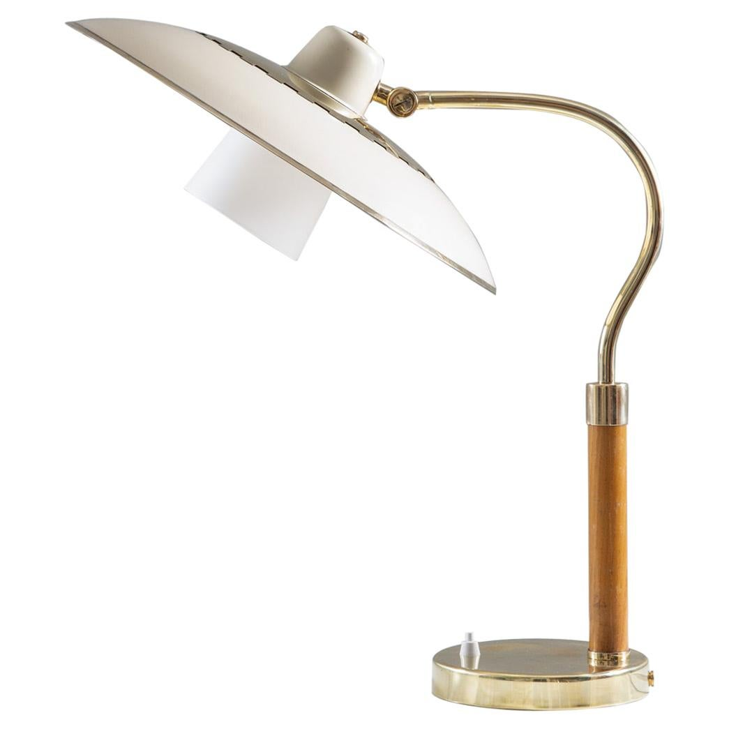 Swedish Midcentury Table Lamp Model 600 by Boréns in Brass, Glass and Wood