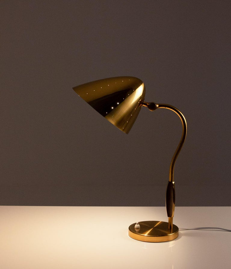 Swedish Midcentury Table Lamp in Perforated Brass by Boréns In Good Condition For Sale In Karlstad, SE