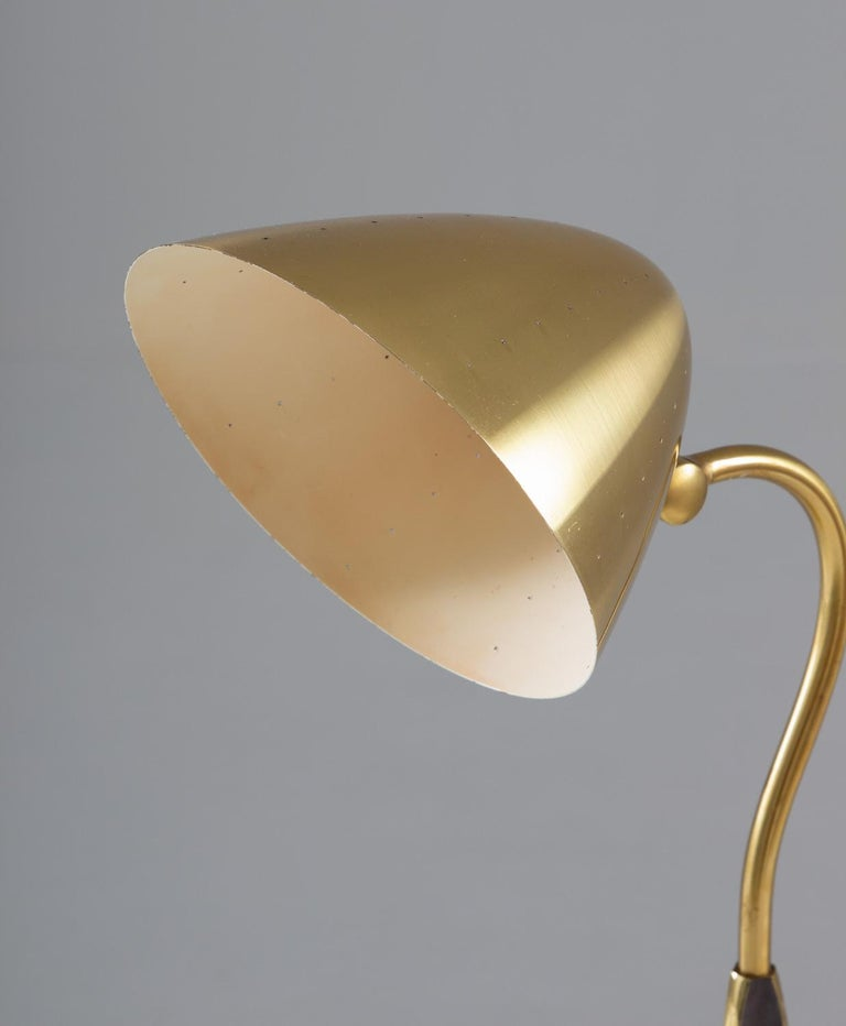 20th Century Swedish Midcentury Table Lamp in Perforated Brass by Boréns For Sale