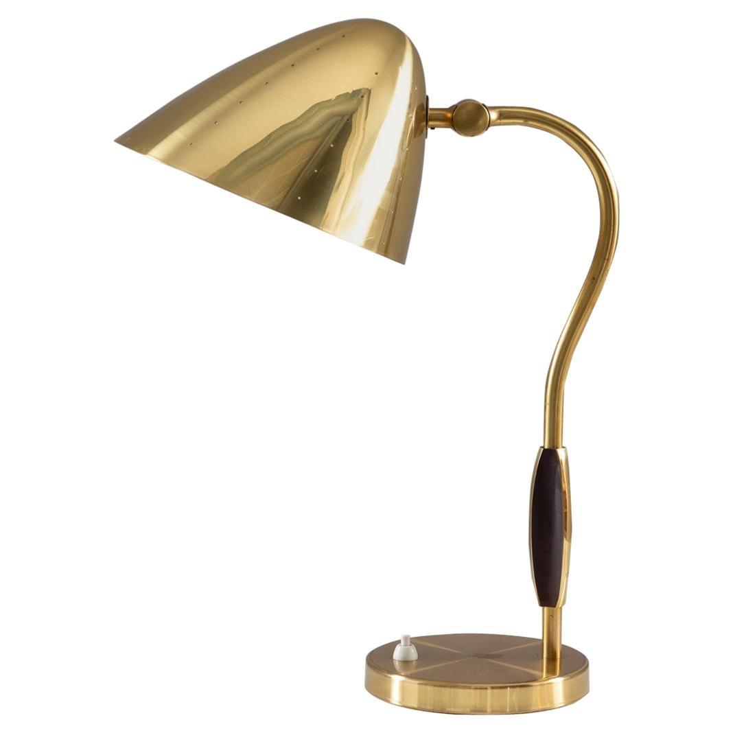 Swedish Midcentury Table Lamp in Perforated Brass by Boréns