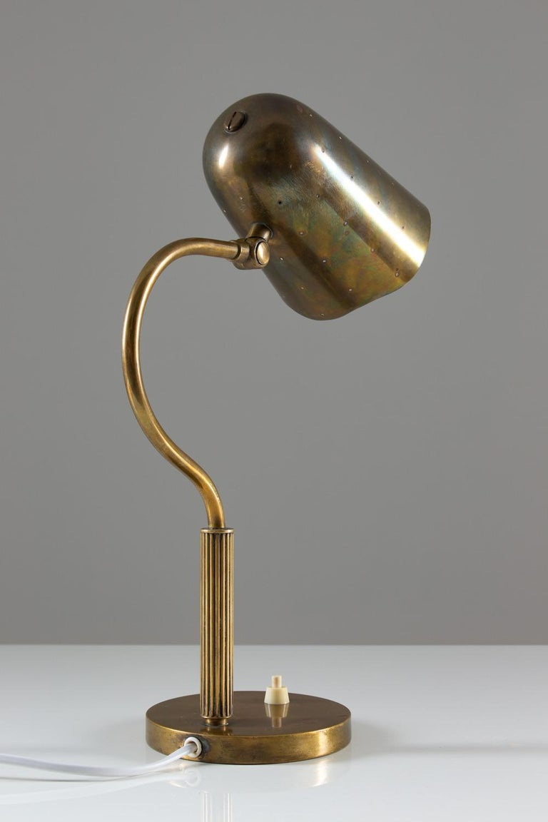 Mid-Century Modern Swedish Midcentury Table Lamp in Perforated Brass For Sale