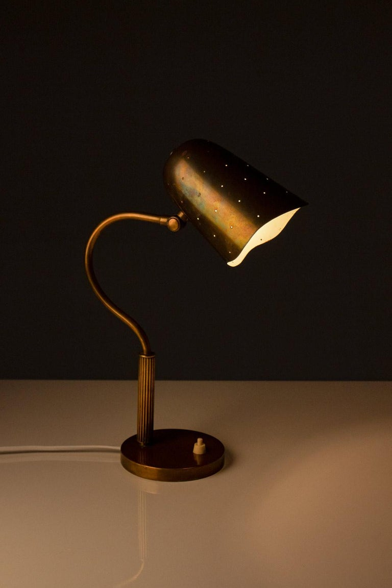Swedish Midcentury Table Lamp in Perforated Brass In Good Condition For Sale In Karlstad, SE
