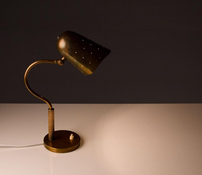 20th Century Swedish Midcentury Table Lamp in Perforated Brass For Sale