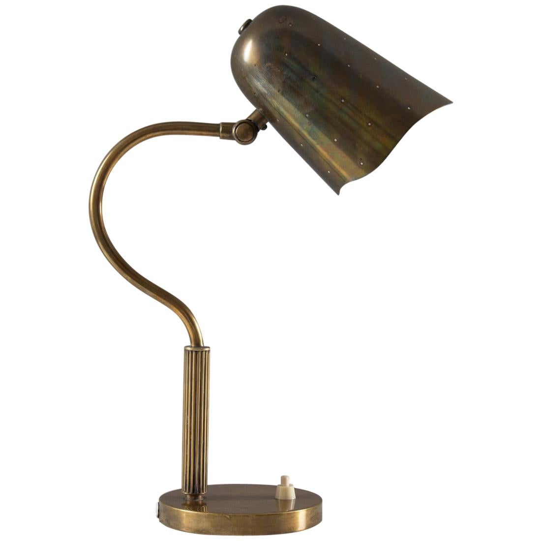 Swedish Midcentury Table Lamp in Perforated Brass