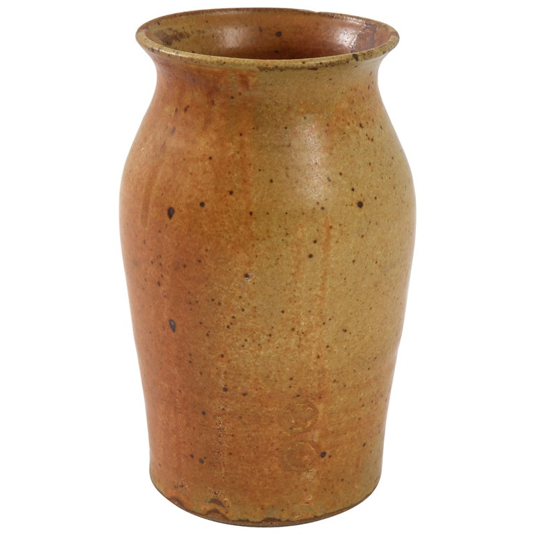 Swedish Midcentury Tawny Ocher Vase, circa 1950 For Sale