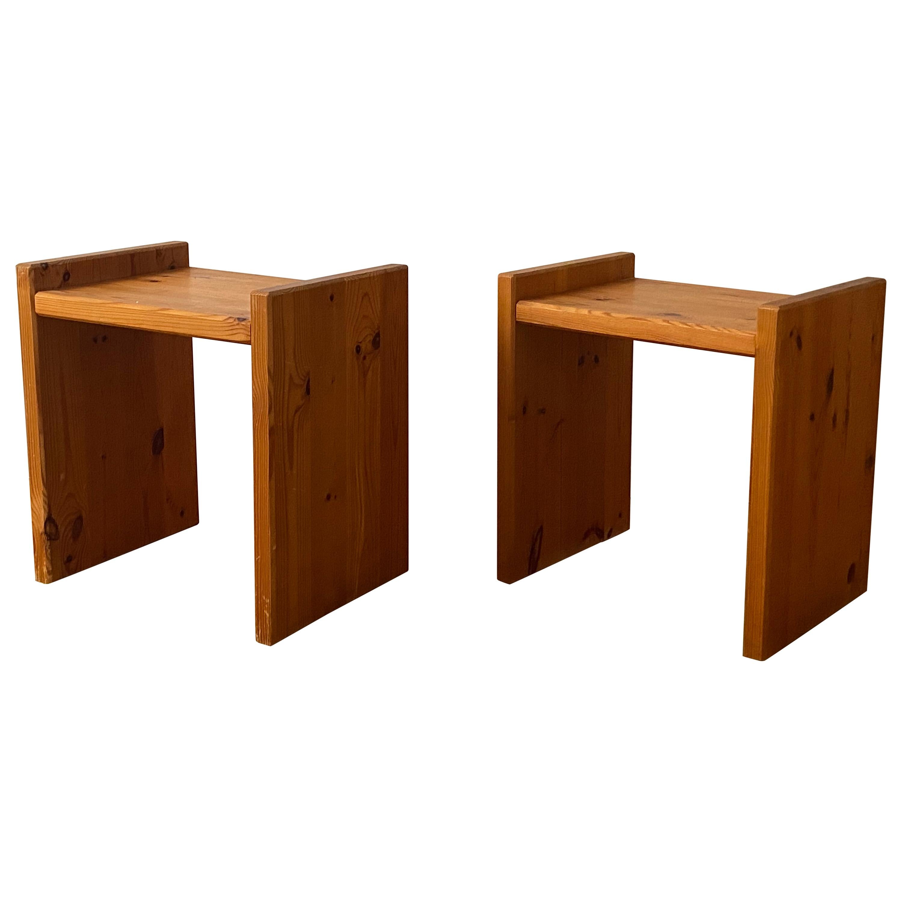 Swedish, Minimalist Night Stands or Side Tables, Solid Pine, Sweden, 1970s