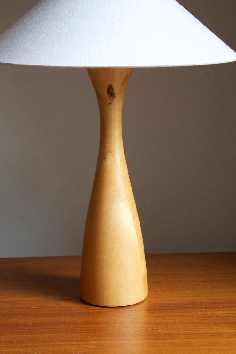 Mid-Century Modern Swedish, Minimalist Table Lamp, Light Wood, Fabric, Sweden, 1980s For Sale