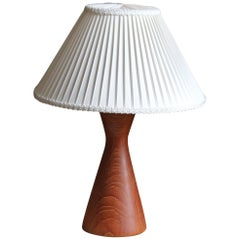Swedish, Minimalist Table Lamp, Solid Teak, Sweden, 1960s