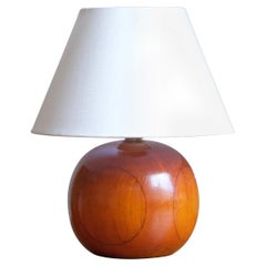 Swedish, Minimalist Table Lamp, Stained Wood, Fabric, Sweden, 1960s