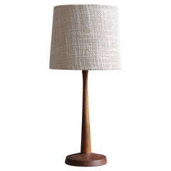 Swedish, Minimalist Table Lamp, Teak, Fabric, Sweden, 1960s