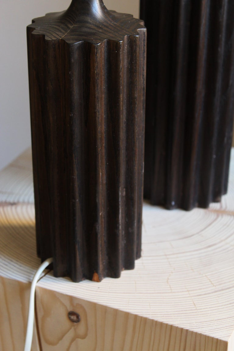 Swedish, Minimalist Table Lamps, Stained Pine, Fabric, Sweden, 1960s In Fair Condition For Sale In West Palm Beach, FL
