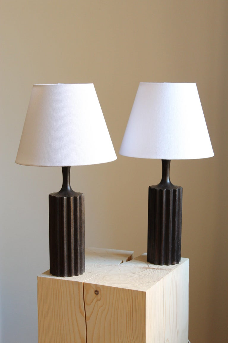 Mid-20th Century Swedish, Minimalist Table Lamps, Stained Pine, Fabric, Sweden, 1960s For Sale