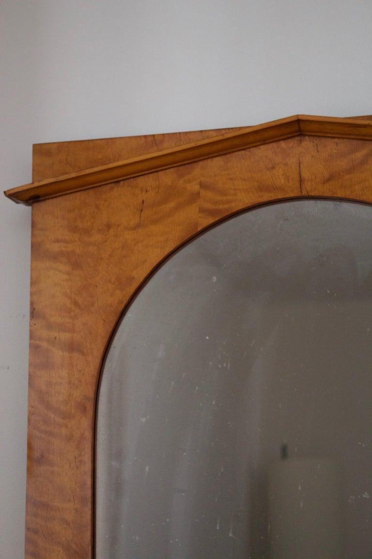 Swedish, Mirror, Burlwood, Original Mirror Glass, Sweden, 1930s In Fair Condition For Sale In West Palm Beach, FL