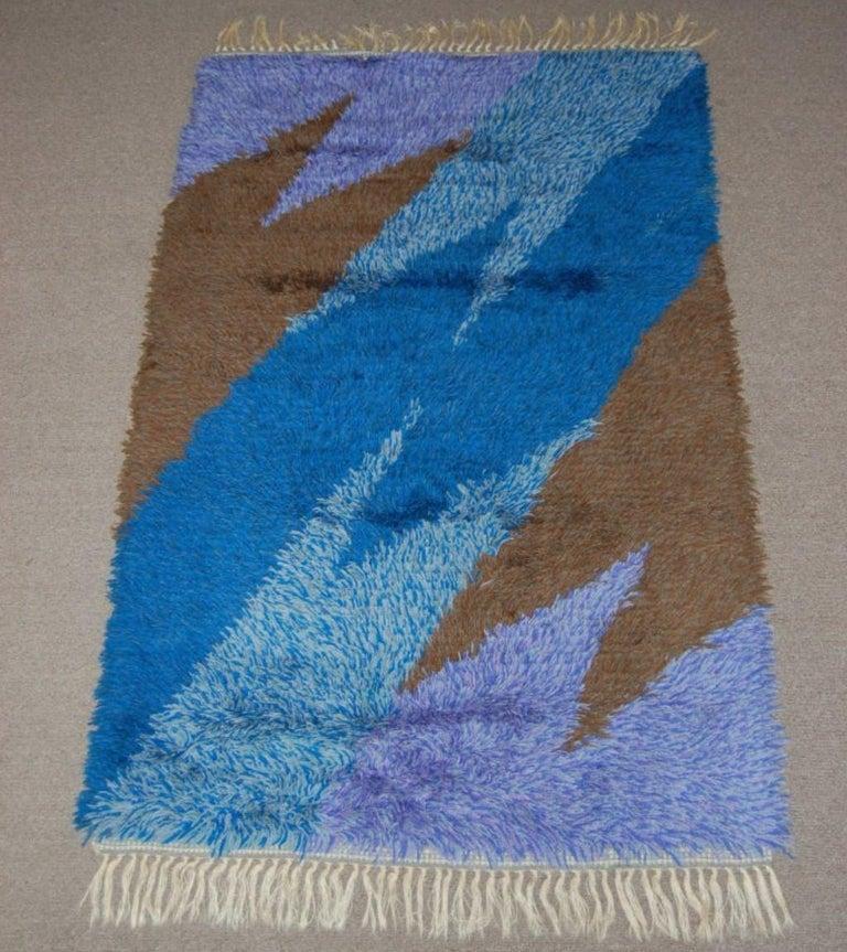 Fabric Swedish Modern 3x5 Abstract Blue, Lavender, Brown Shag Rya Rug For Sale
