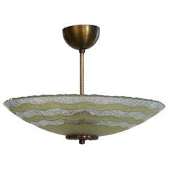 Swedish Modern Art Glass Light Fixture