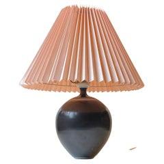Swedish Modern Black Ceramic Table Lamp with White Stripes