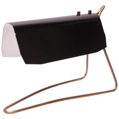 Swedish Modern Black Metal and Brass Table Lamp