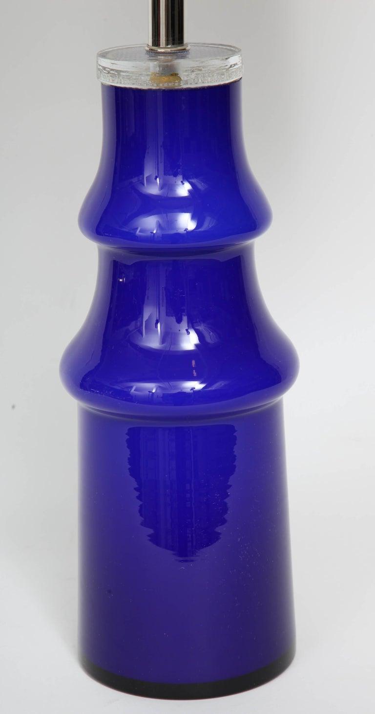 Scandinavian Modern Swedish Modern Blue Art Glass Lamp by Johansfors For Sale