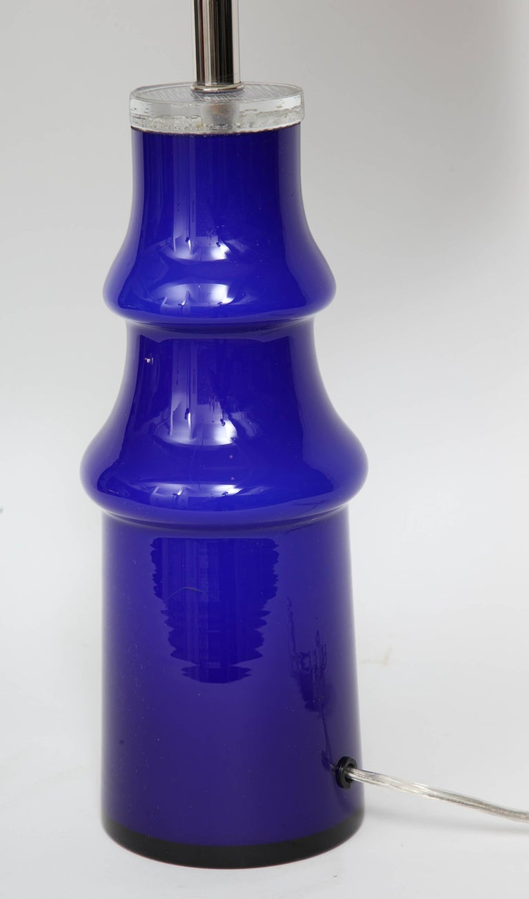 20th Century Swedish Modern Blue Art Glass Lamp by Johansfors For Sale