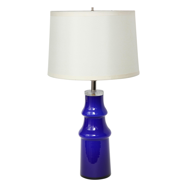 Swedish Modern Blue Art Glass Lamp by Johansfors