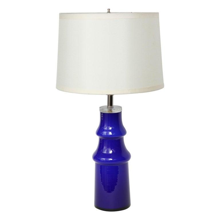 Swedish Modern Blue Art Glass Lamp by Johansfors For Sale