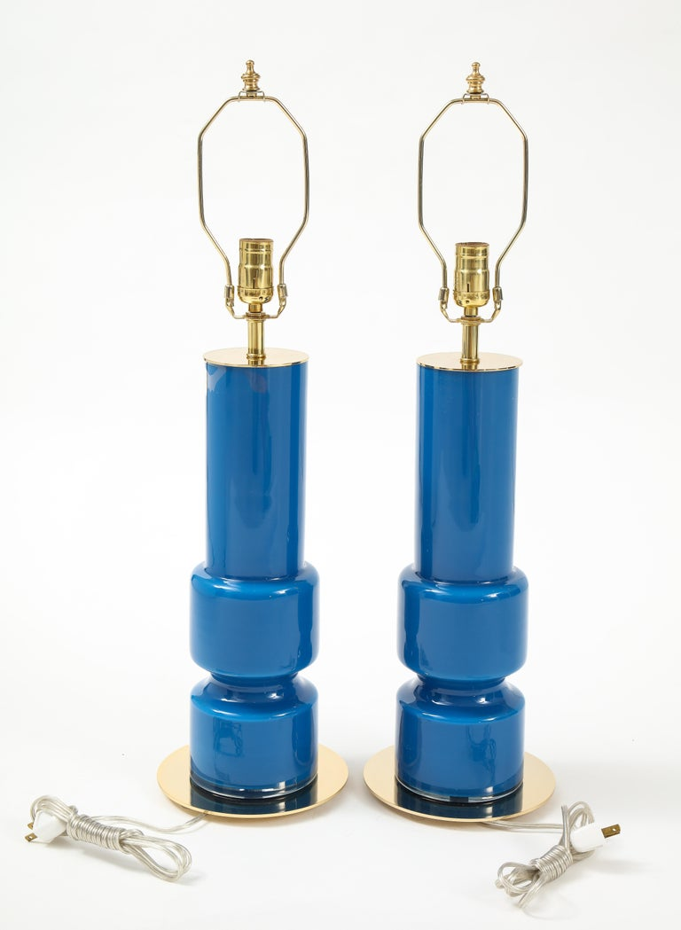 Swedish Modern Blue Glass Totem Lamps In Excellent Condition For Sale In New York, NY