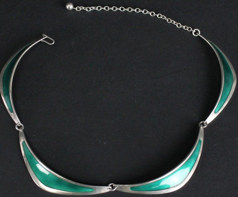 Modernist Swedish Modern Borgila Necklace, Sterling Silver and Enamel For Sale