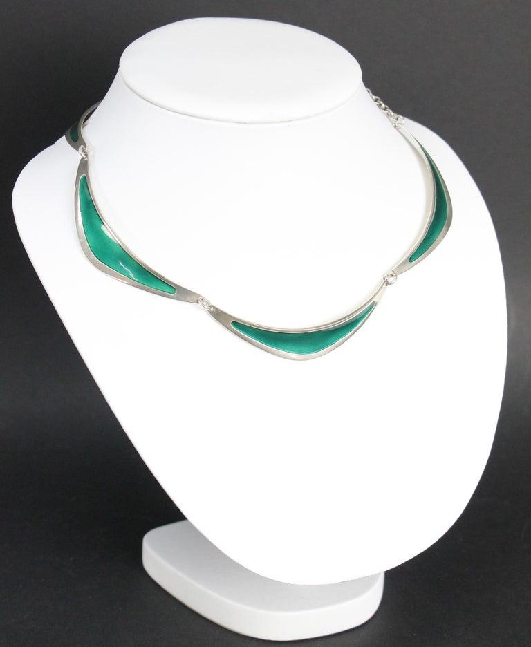 Swedish Modern Borgila Necklace, Sterling Silver and Enamel In Good Condition For Sale In Skanninge, SE