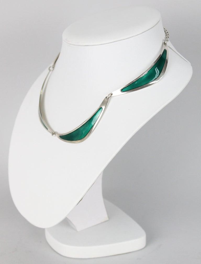 Swedish Modern Borgila Necklace, Sterling Silver and Enamel For Sale 2