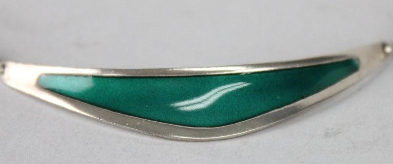 Swedish Modern Borgila Necklace, Sterling Silver and Enamel For Sale 3